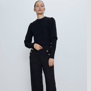 Zara Balloon Sleeves Knit Black Sweater